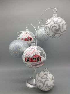 SET OF SILVER WINTER BAUBLES