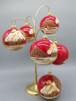 SET OF RED AND GOLD COTTAGES BAUBLES