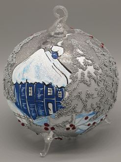 SILVER WINTER COTTAGE LAMPION
