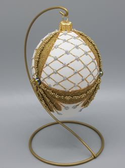 WHITE AND GOLD FABERGE EGG