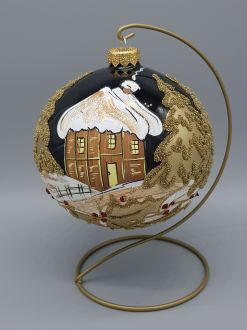 BLACK AND GOLD WINTER COTTAGE  BAUBLE