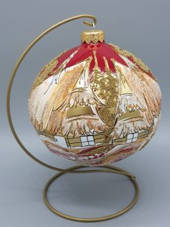 RED AND GOLD WINTER COTTAGE BAUBLE