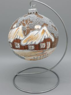 BROWN WINTER COTTAGE BAUBLE